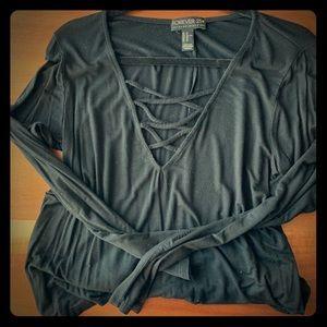 black crisscross long sleeve